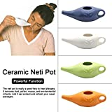 Sanmubo Ceramic Neti Pot And Himalayan Neti Salt, For Nasal Flushing Detoxing Cleanser
