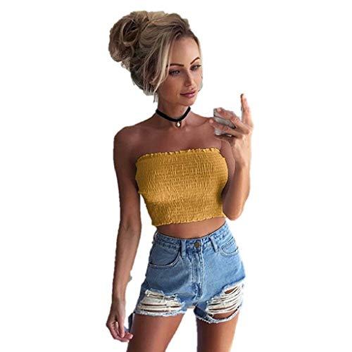 iHENGH Damen Sommer Top Bluse Bequem Lässig Mode T-Shirt Blusen Frauen trägerlosen elastischen Boob Bandeau Tube Tops BH Dessous Brust Wickeln(Gelb, S)