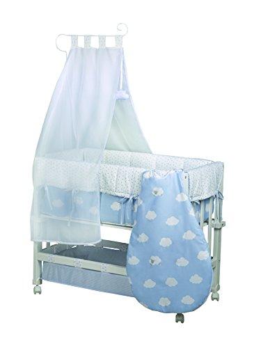 roba Berceau 'Babysitter 3 en 1' de la collection 'Petite Nuage bleu', utilisable comme cododo, petit lit et banc, bois laqué en blanc; inclus en livraison sont un matelas, le tour de lit