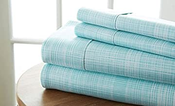 Becky Cameron Printed Thatch Patterned Quality 4 Piece Sheet Set, Queen, Aqua