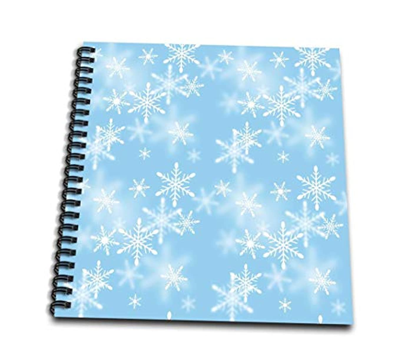3dRose db_65567_1 Floating White Snowflakes Against A Light Blue Background-Drawing Book, 8 by 8