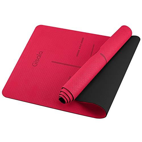 GISALA TPE Yogamatte rutschfest, fitnessmatteGynastikmatte Trainingsmatte für Yoga, Pflegeleichte jogamatte mit Tragegurt/Tasche (Rot)