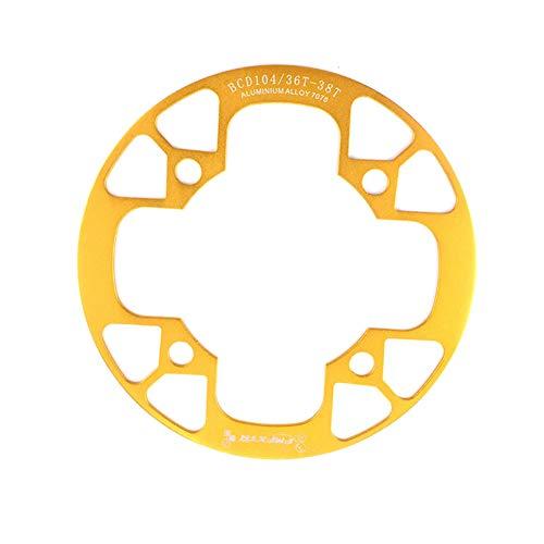Adoolla 104bcd MTB - Cubierta de protección para rueda de bicicleta (protección total, 36-38T, dorado)