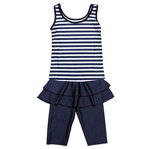 Baby meisjes mouwloze badmode sets tweedelige zeer elastische strepen tops en shorts badpakken voor kinderen Large marineblauw