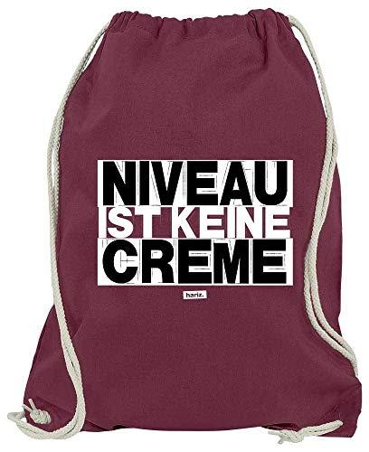 Hariz - Sacca da ginnastica con scritta'Niveau Ist Keine Creme', colore: Nero/Bianco, vinaccia (Rosso) - Spruch-S-W105-WM110-4-1