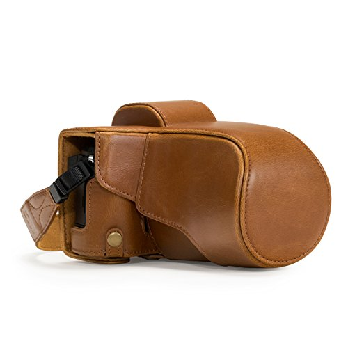 MegaGear Ever Ready - Funda protectora de cuero de la cámara, bolso para Olympus OM-D E-M5 Mark II, 12-40mm / 40-150mm, marrón claro