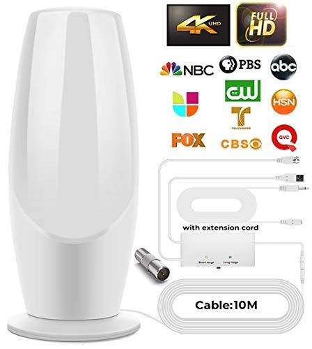 Versión 2021 Ultra Plana Antena TV TDT Interior DVB-T DVB-T2, Mayor Rango de recepción de 200KM, 10 Metros de Cables de Alto Rendimiento, duraderos y Resistentes, Negro (White)