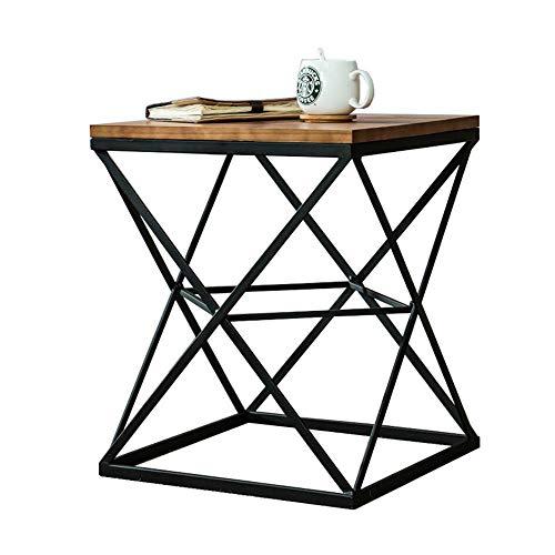 Jcnfa-side table Vierkant industriële bijzettafel Massief hout salontafel Woonkamer bank bijzettafel nachtkastje, houten tafelblad en metalen frame