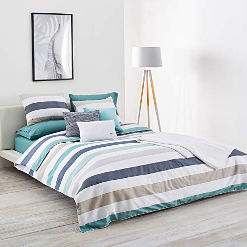 Lacoste Bailleul Aqua and Khaki Striped Brushed Twill Comforter Set, Full/Queen