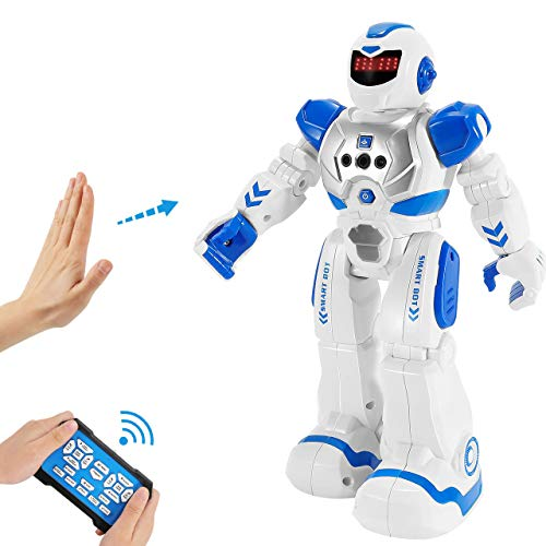 Vimpro RC Robot Toy for Kids Boys,Smart Programmable Remote Control Robots Infrared Sensing RC Robot Gesture Sensing Robot Intelligent Toy Gift for Boys Girls, Blue