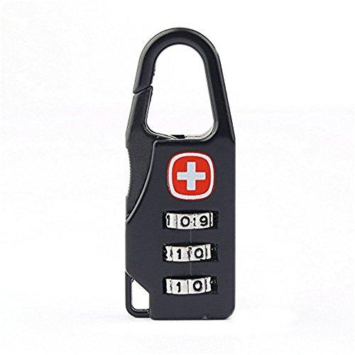 Mini candado de metal negro de 3 dígitos para equipaje, contraseña, código de bloqueo, para maletas de viaje, equipaje, escuela, gimnasio