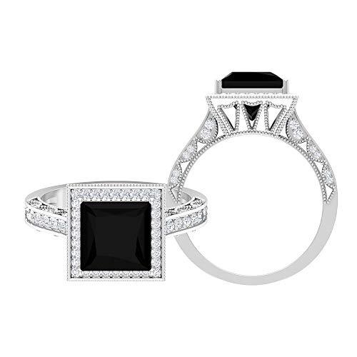 Anillo de compromiso vintage de halo de 3,25 quilates para mujer con diamante negro creado en laboratorio y moissanita (8 mm, diamante negro creado en laboratorio), oro de 14 quilates negro