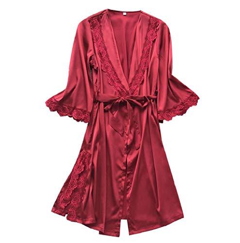 Lingerie De Nuit, Lonupazz Sexy Femmes Peignoir Satin Robe De Kimono Lingerie Erotiquede Tenues De Nuit Babydoll Satin Soyeux Peignoir Court Chemises De Nuit Ensembles De Lingerie Robe De Pyjama