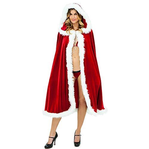 OPSLEA Mantello di Natale da Donna Mantello di Babbo Natale con Cappuccio Mantello di Velluto Cosplay