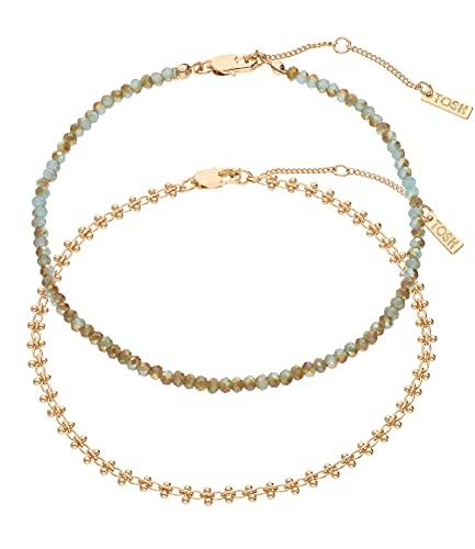 TOSH Elegante conjunto de cadena de tobillo de perlas de cristal para mujer (1002649)