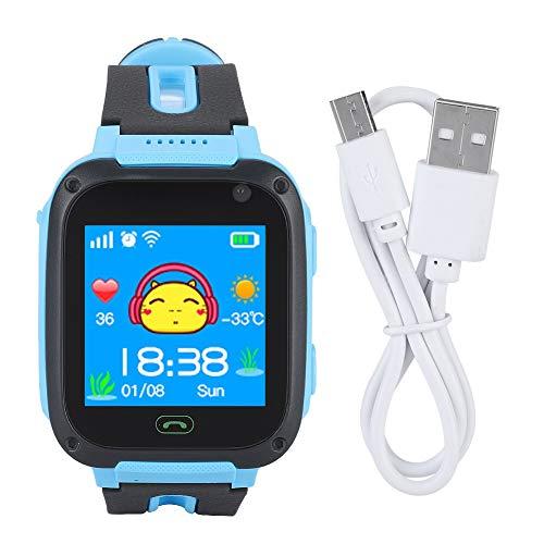 Teléfono Smart Watch para niños: Smartwatch rastreador de GPS, Need Sim Linterna de Llamada SOS y Reloj Inteligente con Pantalla táctil Segura para niños Niños Reloj Anti-perdido (Color : Azul