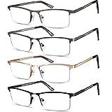 4 Pack Reading Glasses for Men, Mens Metal Frame Blue Light Blocking Readers