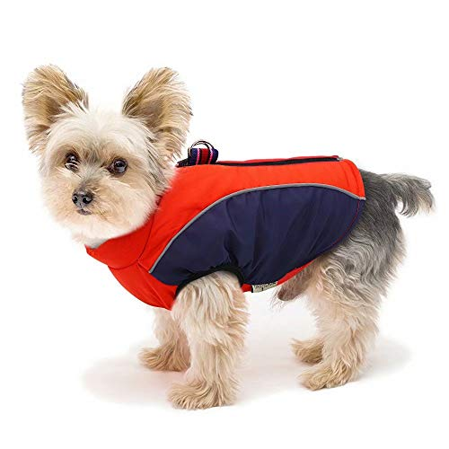 Didog Fleece Lined Warm Dog Winter Coat for Small Dogs & Cats - Reflective Cold Weather Dog Jacket Sport Vest with Zipper Closure and Leash Ring for Walking Hiking,Red