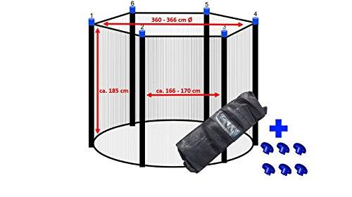 Trampolin Sicherheitsnetz 360 - 366 cm Ø für 6 Stangen Ersatznetz Fangnetz