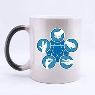 Best Funny Novelty Rock Paper Scissors Lizard Spock Morphing Coffee Mug or Tea Cup,Ceramic Material Mugs - 11oz
