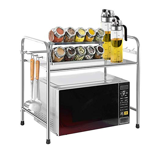 N /A Microwave Shelf Kitchen Shelf Metal Microwave Holder Microwave Stand with Sturdy Metal Frame Kitchen Countertop Cabinet Spice Rack Microwave Rack for Kitchen and Worktop