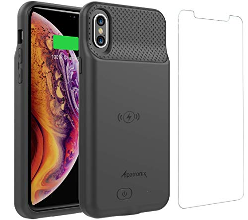 iPhone Xs/X Battery Case, BXXs Slim Portable Protective Extended Charger Cover with Wireless Charging Compatible with iPhone X & iPhone Xs (5.8 inch) - (Black)