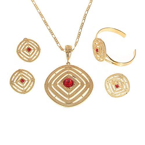 Conjuntos de joyas de boda etíope de piedra roja, collar con colgante de Color dorado, pendientes, anillo, Eritrea africano Habesha, regalo