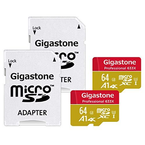 Gigastone 64GB 2-Pack Micro SD Card, Professional 4K Ultra HD, High Speed 4K UHD Gaming, Micro SDXC UHS-I U3 C10 Class 10 Memory Card with Adapter