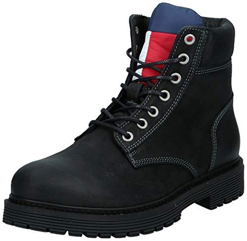TOMMY JEANS - Męskie buty outdoorowe Nubuck Boot, czarny - czarny (Black 990) - 45 EU