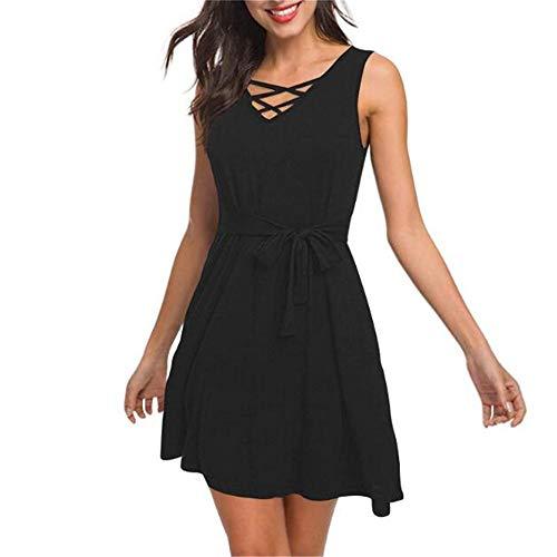 Sommer Frauen äRmelloses V-Ausschnitt Lose Tasche T-Shirt Kleid