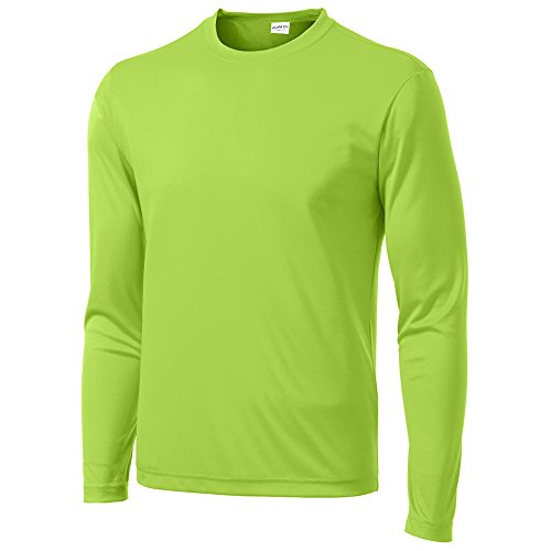 Clothe Co. Mens Long Sleeve Moisture Wicking Athletic Sport Training T-Shirt, M, Lime Shock