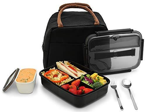 Bento - Fiambrera a prueba de fugas ecológica, para almacenamiento de alimentos con gran bolsa para el almuerzo, tarro de salsa