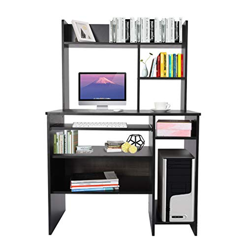 "WPOtee Computer Desk Home Office Desks with Storage Shelf,51.96"" Workstation Student Study Laptop Table with Storage Drawer,Multipurpose for Office,Living Room, Bedroom, Study, Etc (Black)"