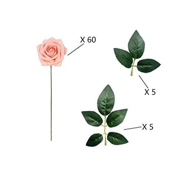 Rosas Artificiales – 50 Pcs Flores Espuma Rosa con 10 Hojas Verdes, Flor Artificial para Decoración de Bodas, Ramilletes…