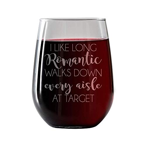 IT'S A SKIN I Like Long Romantic Walks Down Every Aisle of Target–Stemless Wine Glass 17oz Large Red or White Great Gift for Her, Him Travel Includes Free Wine/Food Pairing Card