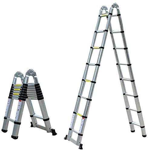 Escalera Plegable de Aluminio Portátil con Plataforma, Escalera de Desván Los 5M...