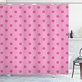 ABAKUHAUS Hot Pink Duschvorhang, Klassische Einfache Punkt, Waschbar & Leicht zu pflegen mit 12 Haken Hochwertiger Druck Farbfest Langhaltig, 175 x 180 cm, Pink Hot Pink