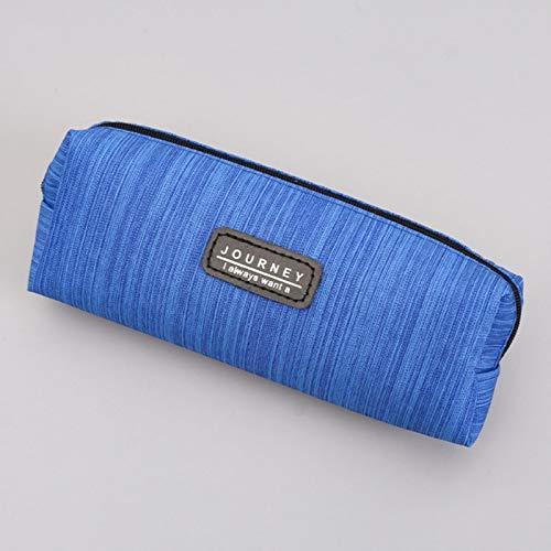 ZHANGCHI Estuche Creative Simple Oxford Cloth Funda De Lápiz Azul De Color Sólido Rayas Bolsas Para El Estudiante De La Escuela Papelería De Papelería Organizador De Bolsa