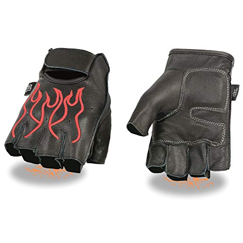 Milwaukee Leather SH198 Men's Black and Red Leather Flamed Embroidered Fingerless Gloves - Large