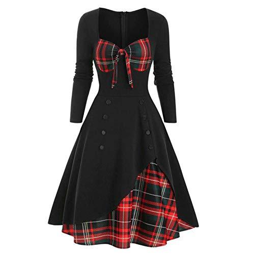 Shineshae Damen Schleifenkleid Elegantes klassisches Kleid Kariertes Patchworkkleid Zweireihige Knopfdekoration,Retro charmante Frühling und...
