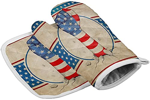 Independence Day Set of Oven Mitt and Pot Holder Vintage American Flag Heat Resistance Non-Slip Surface Oven Gloves for Holiday Fist Star Red White Stripe Kitchen Cooking Baking