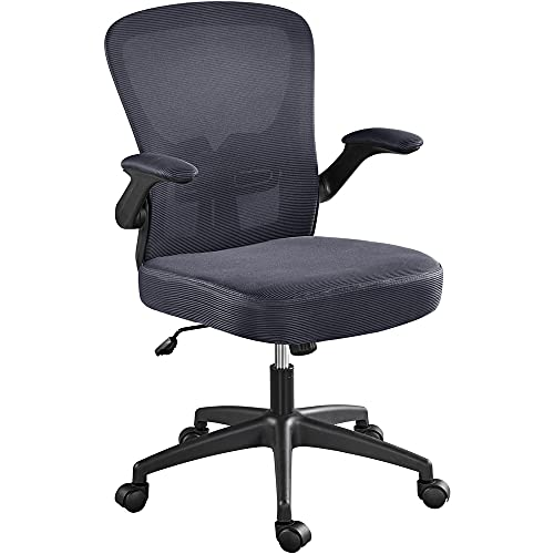 Yaheetech Office Chair Computer Chair Ergonomic Desk Chair Mesh Computer Chair with Lumbar Support Flip-up Arms Swivel Rolling Executive Task Chair Adjustable Chair for Adults, Dark Grey