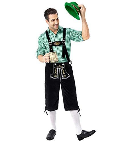 Herren Trachten Lederhose kurz, Trachtenlederhose mit Trägern,Kariertes Hemd,Hut für Oktoberfest,Grün Shirts + Schwarz Dungarees,L