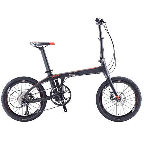 SAVADECK Bici Pieghevole,Z1 20' Bicicletta Pieghevole Carbonio con Telaio in Fibra di Carbonio e Cambio Shimano sora R3000 9 velocità Bicicletta leggera per Unisex-Adulto (rosso)