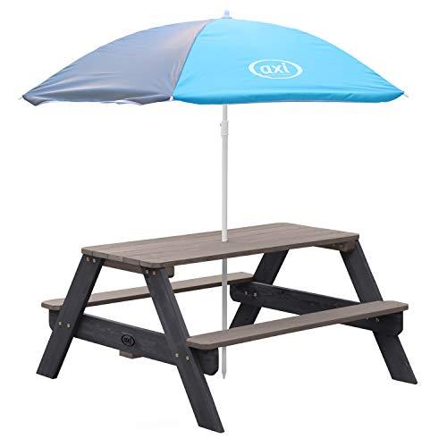 AXI Nick Kinder Picknicktisch aus Holz | Kindertisch in Grau mit Sonnenschirm für den Garten