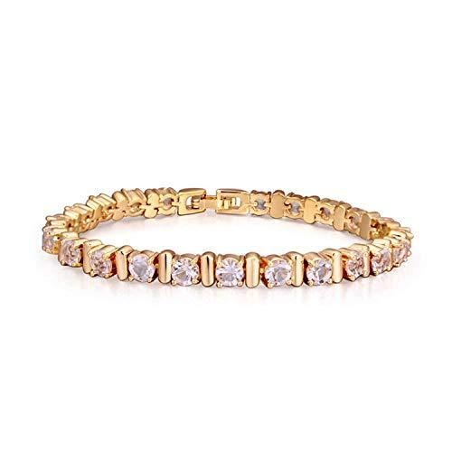 BMGFEW Pulsera Pulsera de Moda joyería AAA señoras Mano Micro Incrustaciones circón Encanto crepuscular Simple Flash Diamante una Capa champán Oro