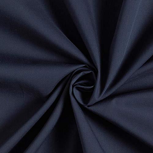 Fabulous Fabrics Baumwollstoff Popeline Uni – Navy — Meterware ab 0,5m — zum Nähen von Blusen, Hemden und Röcke