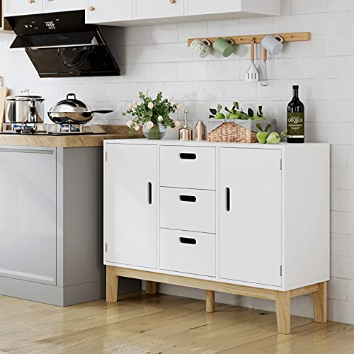 HOMECHO Sideboard Storage Cabinet, Wood Accent Cupboard Table, Kitchen Buffet with 2 Doors and 3 Drawers, Adjustable Shelf, Ideal for Home Office, White