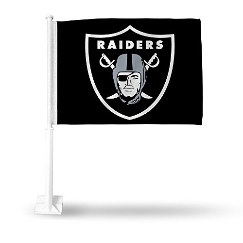 NFL Rico Industries Car Flag including Pole, Oakland Raiders - Black,Team Color,16 x 19.5-inches