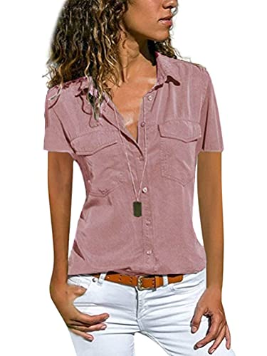 Minetom Damen Bluse Shirt Hemdbluse Casual Hemd Tops Frauen Oberteile T-Shirt B Hellrosa 36